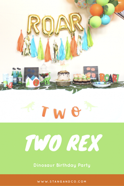 tassel garland and foil ROAR balloon banner dinosaur birthday party