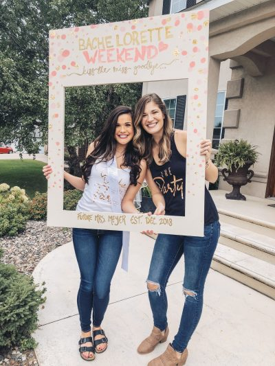 bachelorette cutout photobooth frame prop. Pink and gold wooden photo frame