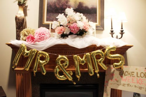mr. and mrs. balloon banner pink and white florasl bridal shower decor