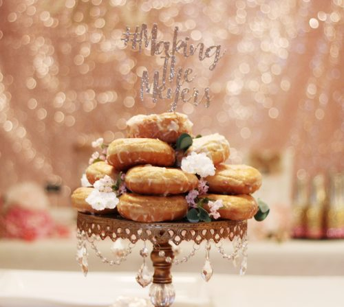 Donut cake on rhinestone cake stand glitter cake topper floral details