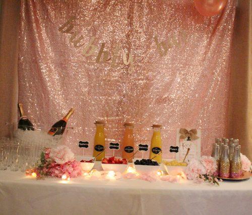 blush sequin backdrop champagne mimosa bar