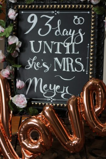 chalkboard wedding countdown bridal shower bachelorette party decor rose gold love balloon