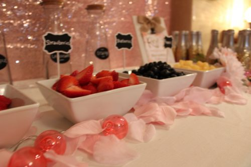 Fixings for bridal shower mimosa bar