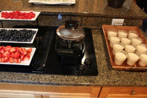 bridal shower waffle bar station fruit platter syrup tray