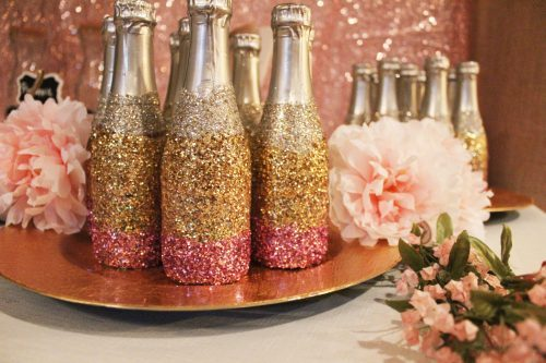 glitter dipped champagne bottles ombre glitter champagne bottles rose gold bridal shower