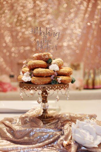 Donut cake on rhinestone cake stand glitter cake topper floral details
