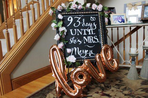chalkboard wedding countdown bridal shower bachelorette party decor rose gold love balloon