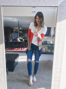 designer inspired amazon colorblock cardigan with busted knee skinny jeans