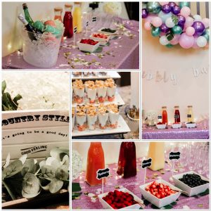 lavender and green balloon arch bubbly bar sign mimosa bar bubbly bar lavender sequin tablecloth