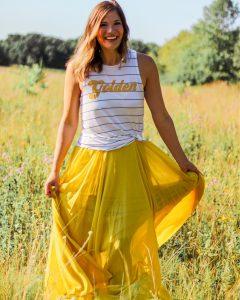 yellow chiffon maxi skirt white golden tank top