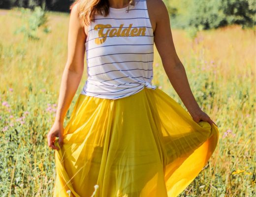 yellow chiffon maxi skirt white golden tank top