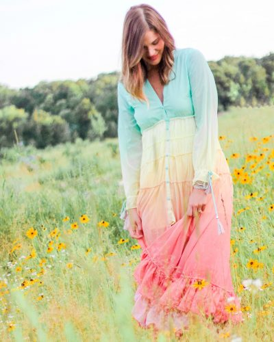 ombre pastel rainbow maxi dress from chicwish vacay paradise gradient v-neck dress ombre ruffle sleeve dress