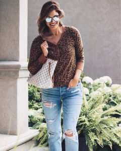 cheetah print waffle knit top tomgirl stretch jeans designer inspired checkered tote bag