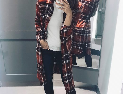 red plaid flannel dress over white tee with black sneakers