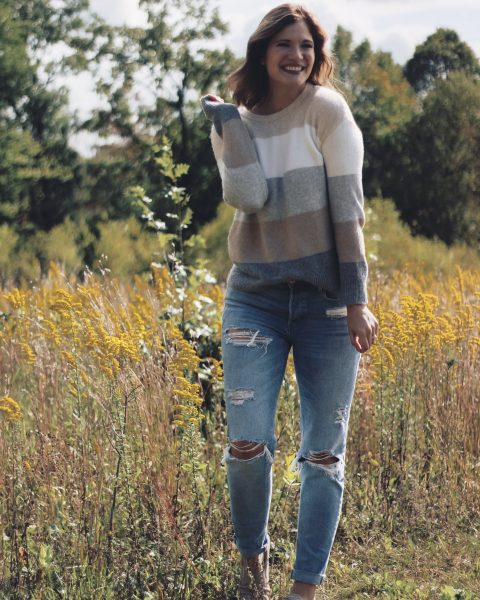 walmart tan and gray colorblock sweater
