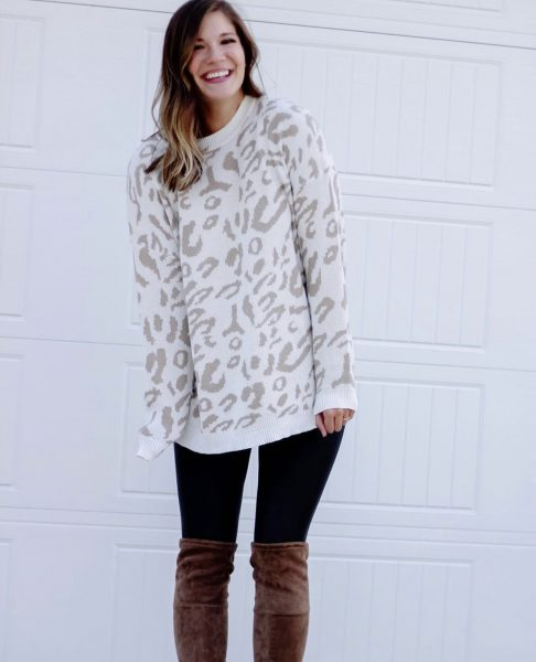 cheetah print sweater with spanx faux leather leggings and over the knee suede boots