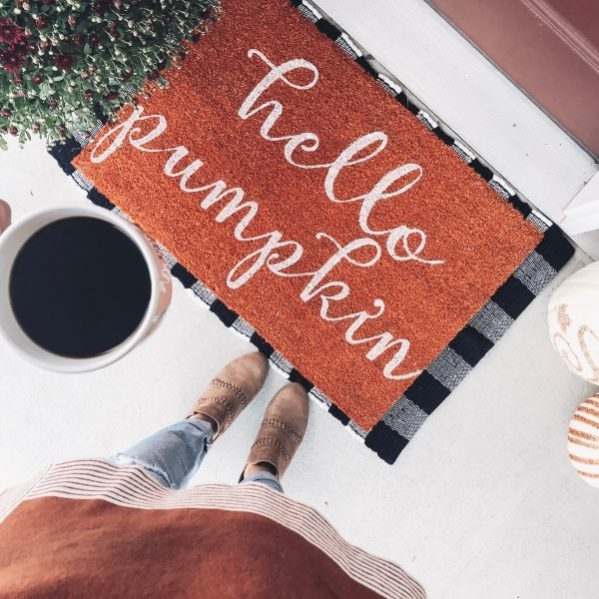 hello pumpkin doormat layered buffalo plaid