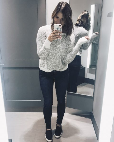 ivory animal print sweater