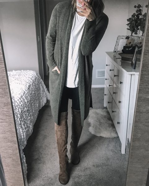 green longline barefoot dreams cardigan / white tee / tall over the knee boots under $50 / spanx faux leather leggings