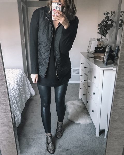 all black outfits / black quilted vest / black plush top / spanx faux leather leggings / snakeskin booties