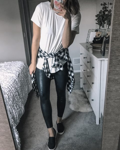 white tee/ black and white plaid buffalo plaid top / spanx faux leather leggings / black dr. scholl's no bad days slip on shoe