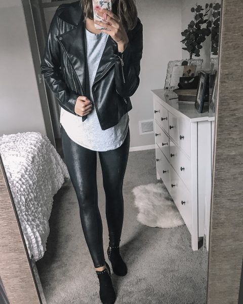 black faux leather moto jacket / gray long sleeve tee / spanx faux leather leggings / black studded suede booties