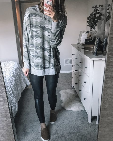 camoflauge logn sleeve weatshirt / spanx faux leather leggings / slip on tennis shoes