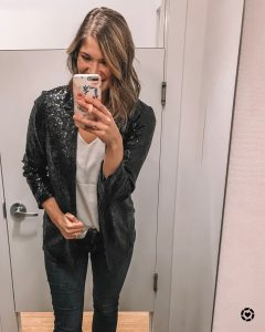 black sequin blazer and affordable alternative options from amazon