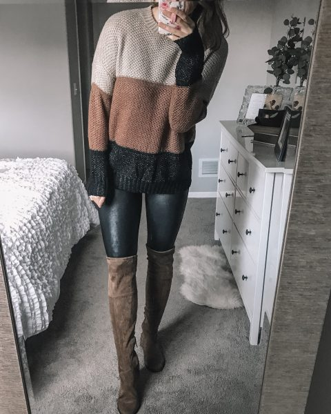 tan brown and black colorblock chucky sweater / spanx faux leather leggings / faux suede tan over the knee boots