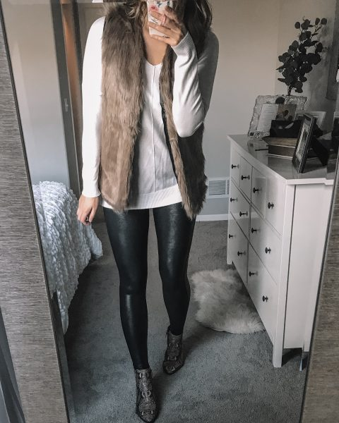 brown faux fur vest / white v neck soft sweater / spanx faux leather leggings / snakeskin booties