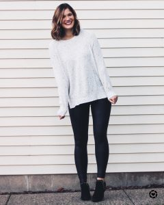 White speckled sweater in TALL sizing spanx faux leather leggings black sam edelman circus studded booties