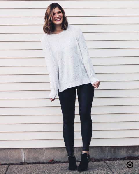 white speckled sweater spanx faux leather leggings black studded booties