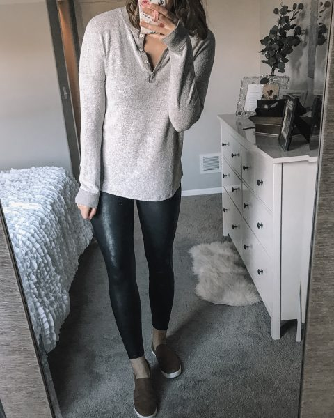 beige oatmeal long sleeve henley plush top / spanx faux leather leggings / tan slip on dr. scholl's shoes