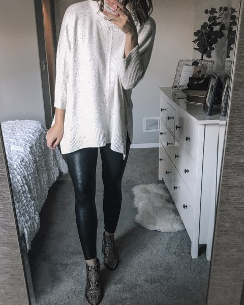 speckled turtleneck poncho sweater / spanx faux leather leggings / snakeskin booties