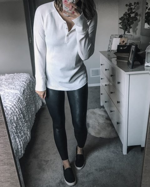 white logn sleeve thermal henley top / spanx faux leather leggings / black dr. scholl's no bad days slip on shoes