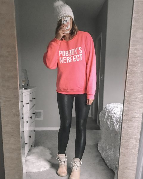 neon pink pobody's nerfect sweatshirt / spanx faux leather leggings / pink sperry duck boots / white pom pom hat