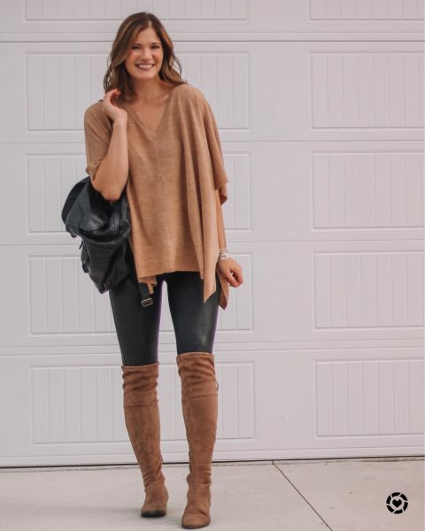 camel v neck poncho spanx faux leather leggings suede over the knee low heel boots