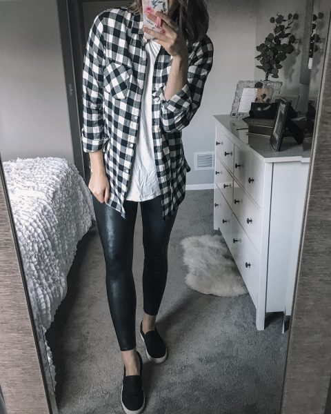 tall buffalo plaid utton front shirt / white tee / spanx faux leather leggings / black dr scholls slip on shoes