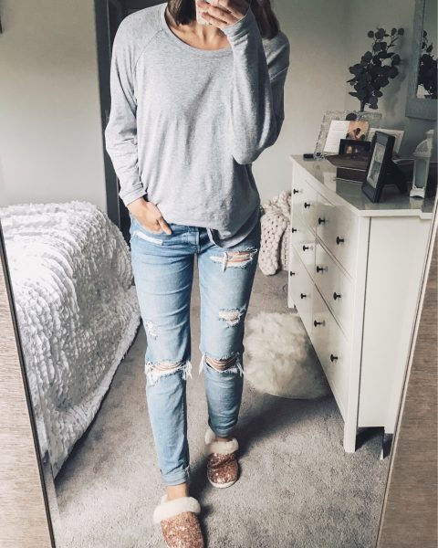 gray tunic top, distressed tomgirl jeans and blush sequin slippers