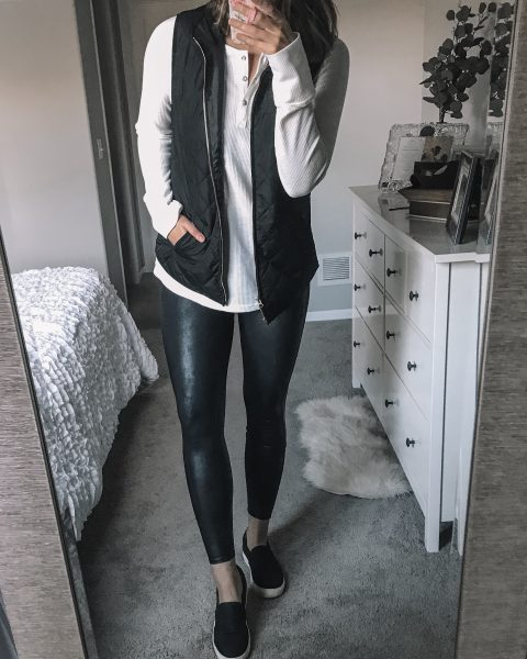 black quilted vest white logn sleeve thermal henley top / spanx faux leather leggings / black dr. scholl's no bad days slip on shoes
