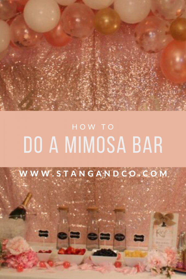 bridal shower bachelorette party mimosa bar rose gold decor sequin backdrop blush balloon arch