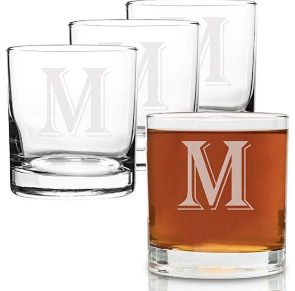 monogrammed scotch glasses as christmas gift