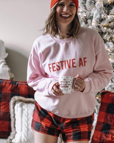 pink festive AF sweatshirt red pom beanie flannel buffalo plaid shorts flocked christmas tree buffalo plaid pillows