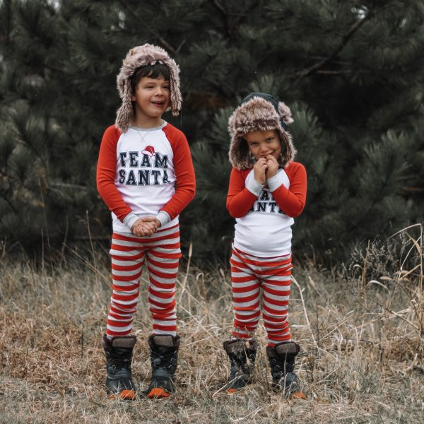 team santa red white striped pajamas black faux fur trapper hat