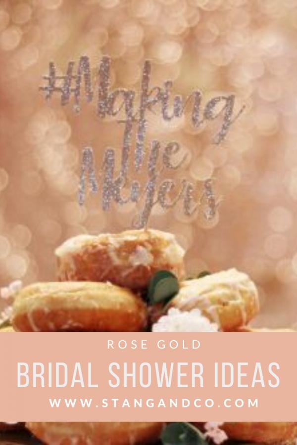 glitter hashtag cake topper donut cake tower sequin backdrop rose gold bachelorette party