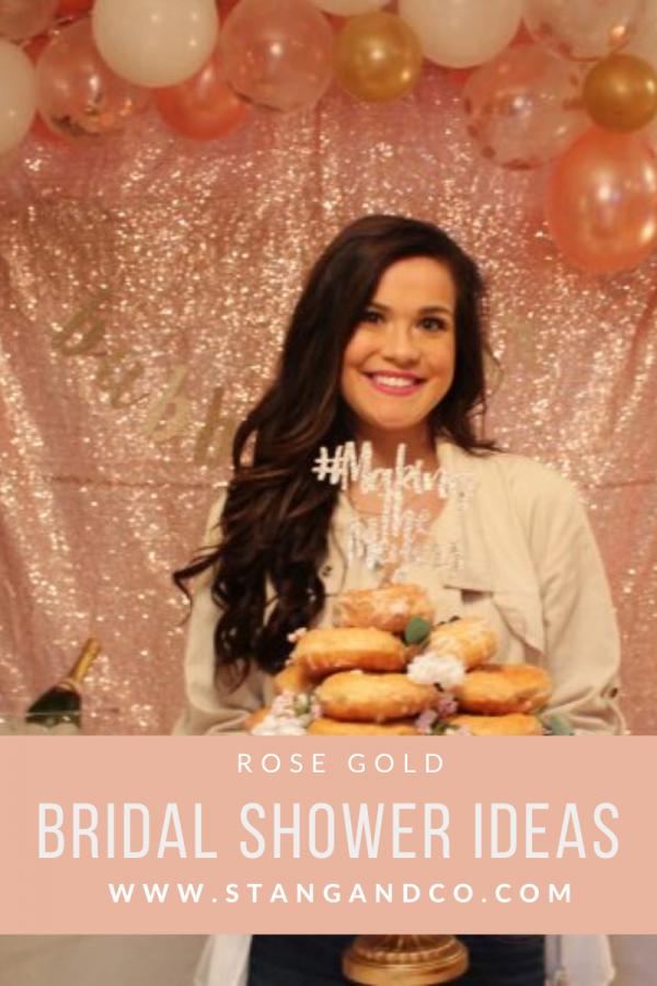rose gold bridal shower sequin backdrop glitter hashtag cake topper donut cake topper