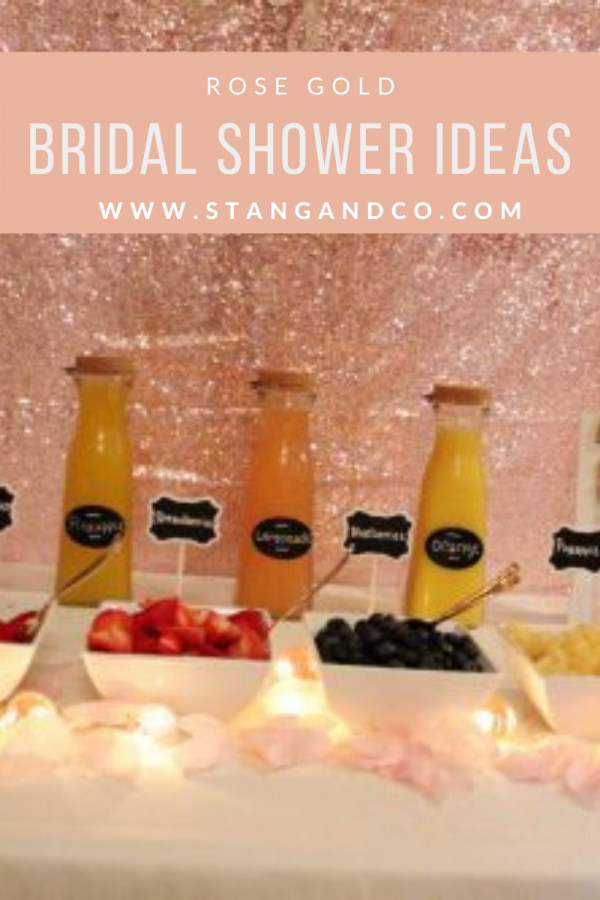 mimosa bar with rose gold sequin backdrop fresh fruit mimosa bar ideas