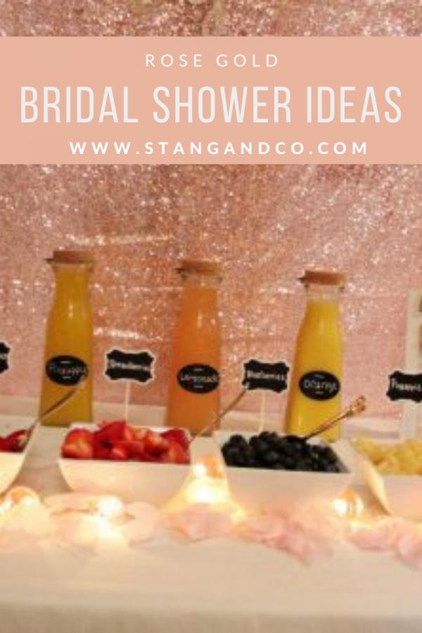 mimosa bar with rose gold sequin backdrop fresh fruit mimosa bar ideas