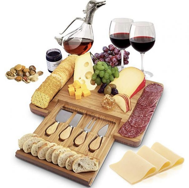 charcuterie board kit gift idea holiday gift serving tray meat and cheese tray wine and cheese tray