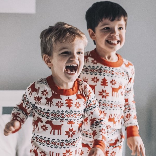 deer fair isle red and white pajama set